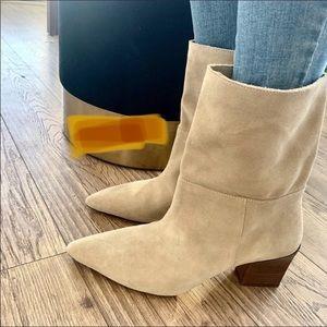 Zara split leather heeled ankle boots size 6